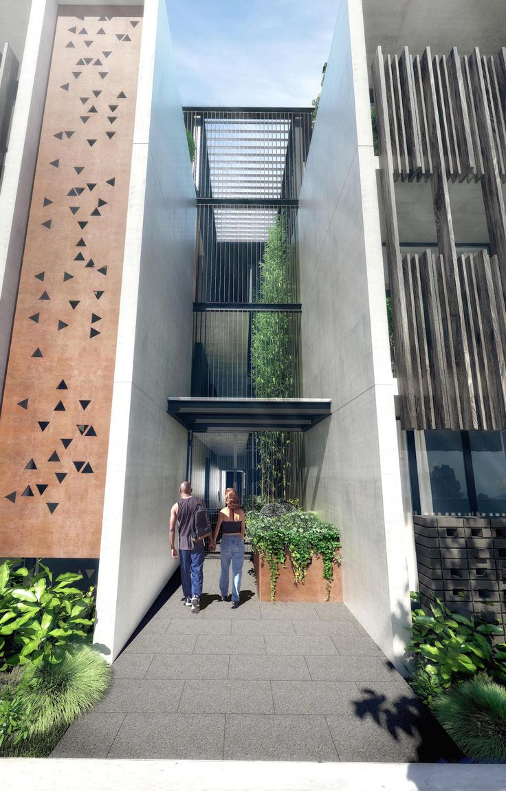 New environmentally sustainable studio apartment building in Bondi - open corridor entry way