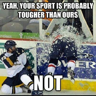 Hockey is tough love! It is a great sport and i have watched it with The men in my family since i was little. MY teams are Dallas, Chicago, Pittsburgh, and Boston<3