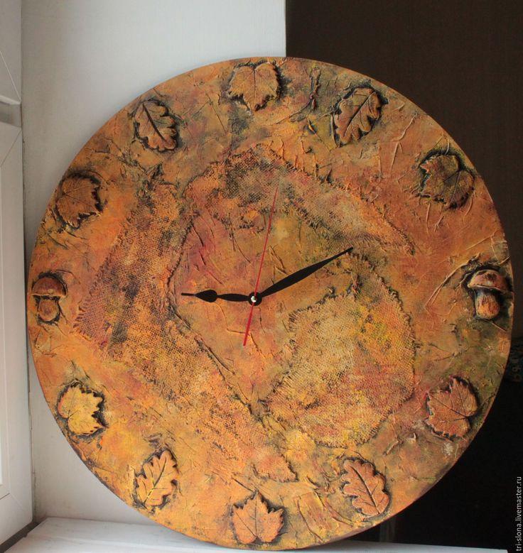 """Купить Большие часы """"Осень"""" - коричневый, осень, осень 2016, осенние краски, настенные часы"""