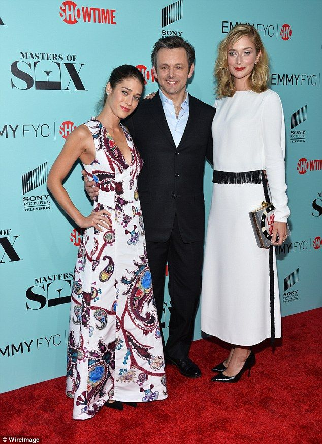 Chic co-stars: Caitlin Fitzgerald, who plays Libby Masters, and Michael Sheen, who plays D...