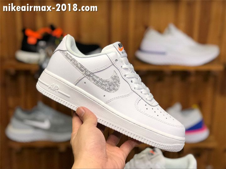 new style ccb3b 7836a 2018 Stylish Nike Air Force 1 Just Do It Low Men And Women Size White AR7719