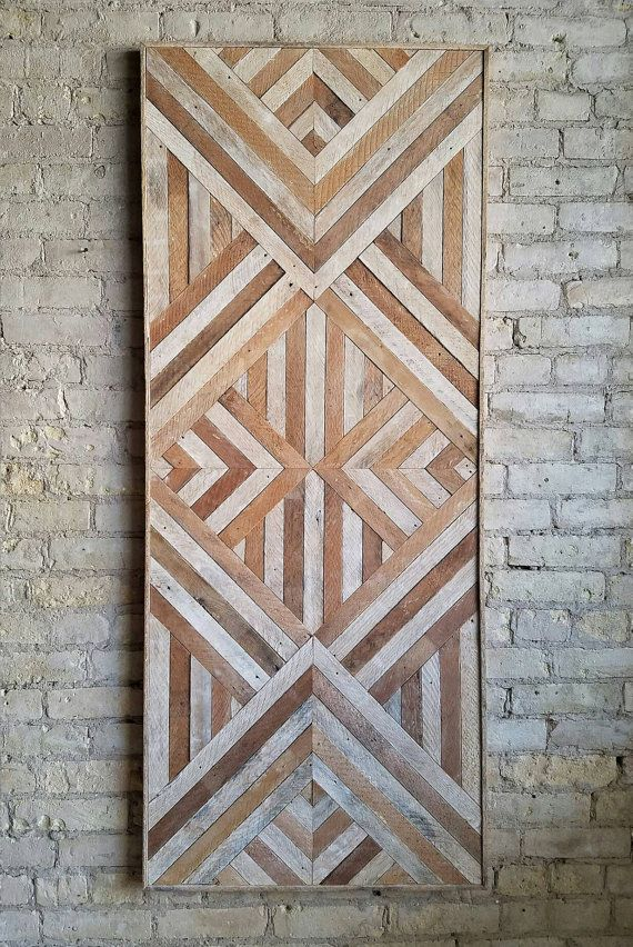 Reclaimed Wood Wall Art, Queen Headboard, Wood Wall Decor, Geometric Pattern 60″ x 24″