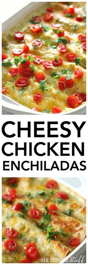 White Chicken Enchiladas and Sour Cream Sauce Recipe | Six Sisters' Stuff