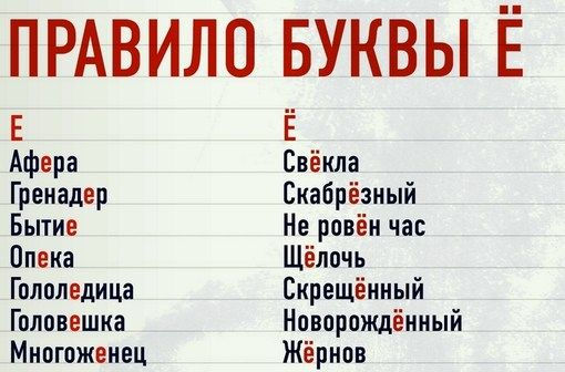 правило буквы ё: 17 тыс изображений найдено в Яндекс.Картинках