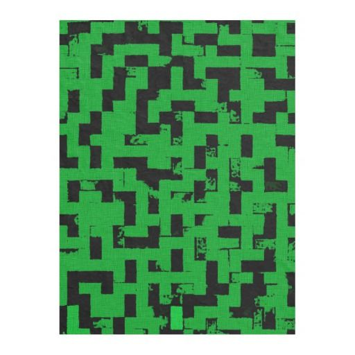 Grunge squares, black and green bricks pattern fleece blanket