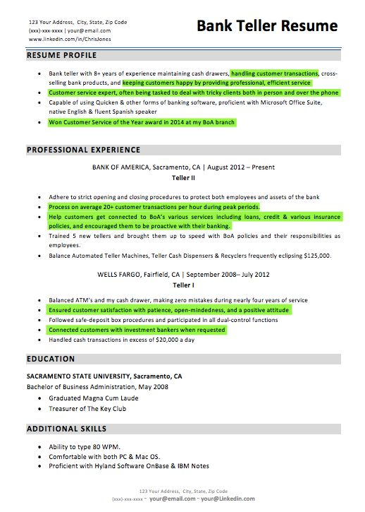 View Bank Teller Resume - Opinion of experts