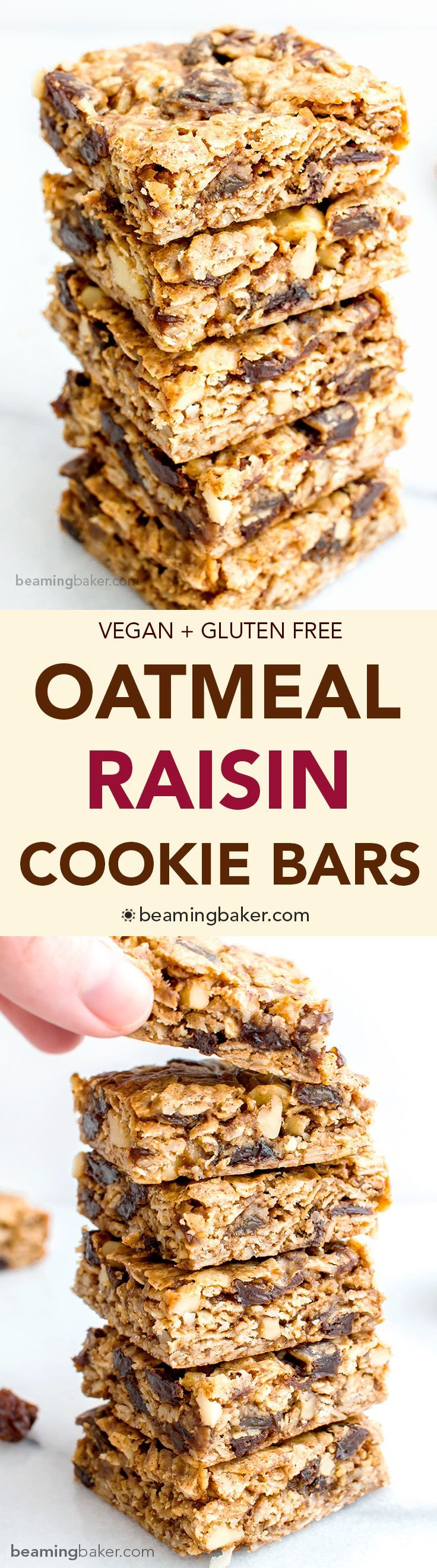 Oatmeal Raisin Cookie Bars (V+GF): an easy recipe for soft, chewy cookie bars made from simple ingredients, bursting with juicy raisins and walnuts. #Vegan #GlutenFree | http://BeamingBaker.com