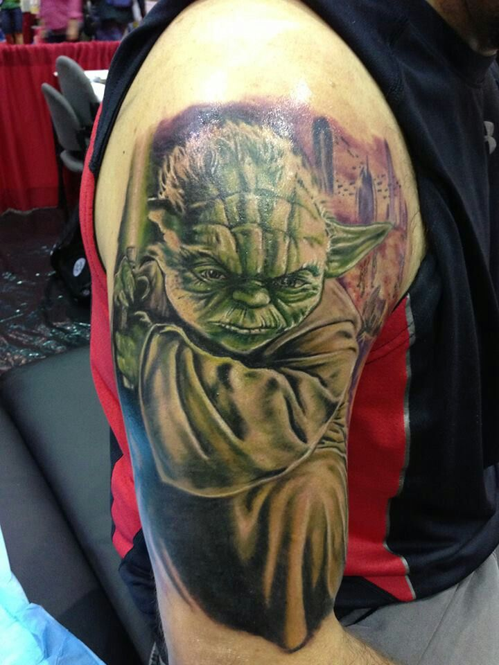 Star Wars Yoda tattoo. Strong with the force this one is ...