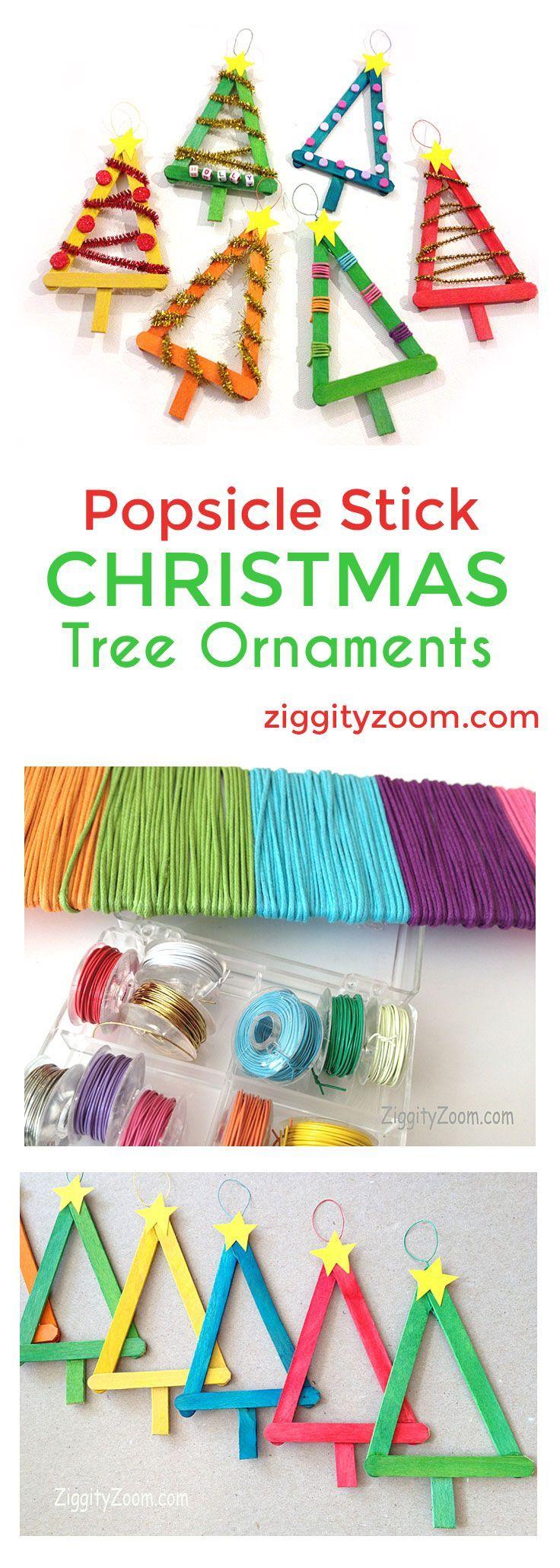 Popsicle stick ornaments DIy Christmas Tree Popsicle Stick Ornaments- Colorful fun craft for kids