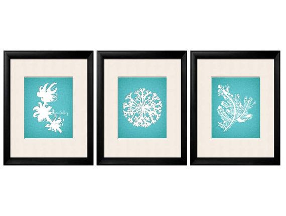 Teal Coral Wall Art Antique Illustration Teal by BeachHouseGallery, $29.99