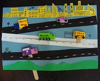 Petit Thêatre de rue en papier (véhicules collés sur des batonnets de glace).
