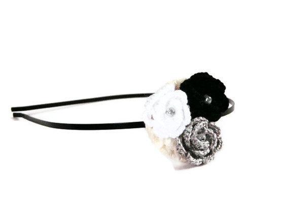 Crocheted rose hair headband Floral hair by myRainbowWorld on Etsy, $15.00