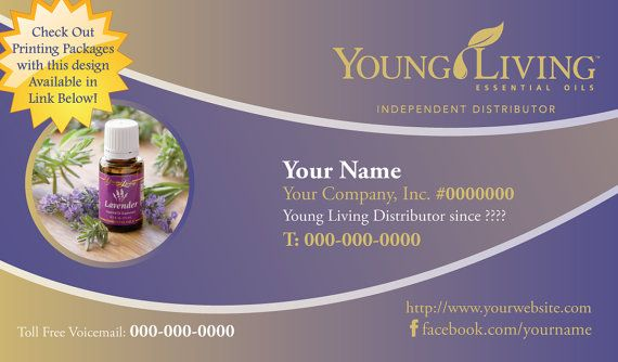 Premade Young Living Business Card Design - Cool Ombre Lavender ...