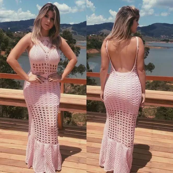 Vestido Longo Rabo De Sereia Costa Nua Em Crocher - R$ 89,99 em Mercado Livre