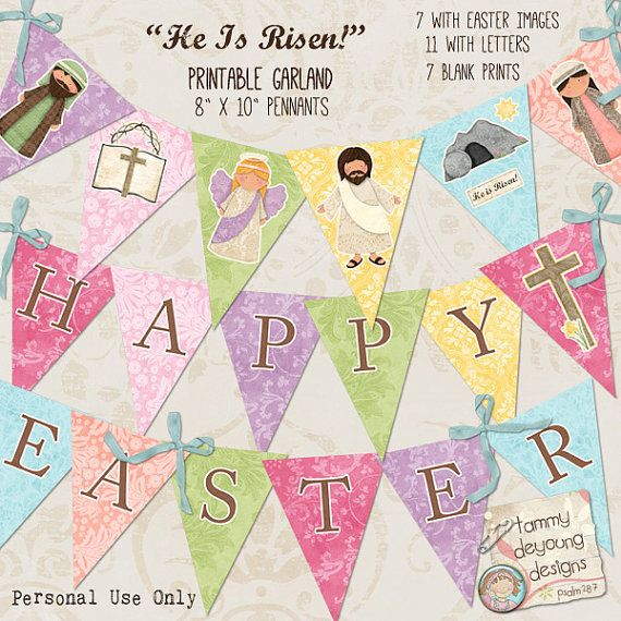 Easter Garland Easter Printable Banner Religious by ...