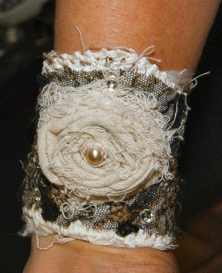 Vintage Lace Cuff Victorian Cuff Romantic Cuff Shabby Chic Cuff Lace Bracelet Hand Stitched Cuff Fabric Bracelet Tattered Bracelet. $85.00, via Etsy.