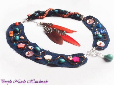 Roadtrip - Bohemian Handmade Statement Necklace by Purple Nicole (Nicole Cea Mov). Materials: glass beads, jeans, feathers, shell flowers, wood beads, turquoise stones.