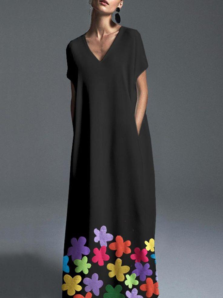 Bohemian V-Neck Floral Maxi Dress