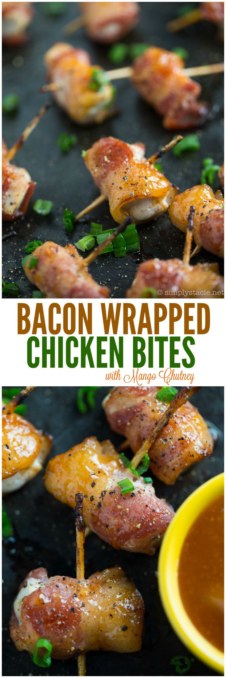 Sweet Mango Chutney is the perfect sauce for these delicious Bacon Wrapped Chicken Bites. Your holiday party will be complete with this appetizer recipe.