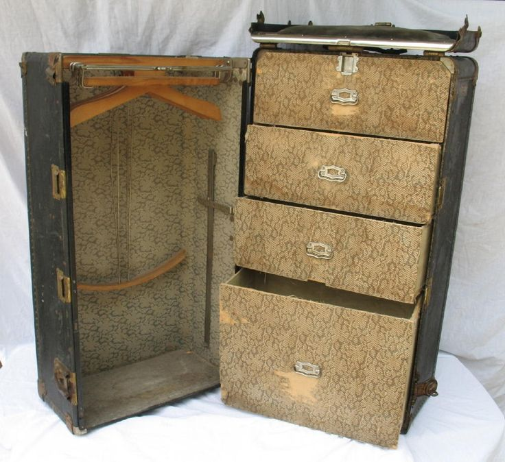 Vintage Travel Trunk With Drawers