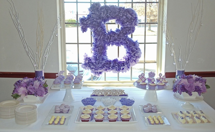 Purple and Silver Bridal Shower Dessert Table by Joy's Cake Studio
