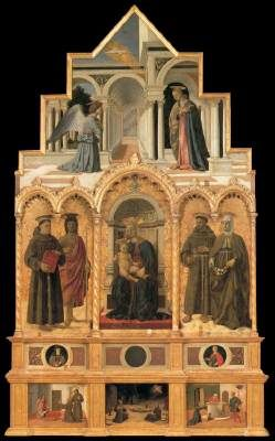 PIERO DELLA FRANCESCA (b. 1416, Borgo San Sepolcro, d. 1492, Borgo San Sepolcro)   Click! Polyptych of St Anthony  c. 1470 Panel, 338 x 230 cm Galleria Nazionale dell'Umbria, Perugia  Among the many works that, according to Vasari, Piero painted in Perugia, the historian describes with great admiration the polyptych commissioned by the nuns of the convent of Sant'Antonio da Padova. This complex painting, today in the Galleria Nazionale dell'Umbria in Perugia, was begun shortly after Piero's…