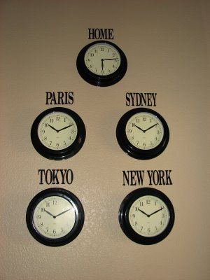 IKEA Clocks & Vinyl Lettering. Love.  Cool idea. But my fam is in NZ. We live in Abu Dhabi and hubby's fam is in London