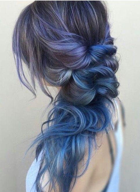 Blue Grey Hair Color Ideas for Braided Hairstyles 2018