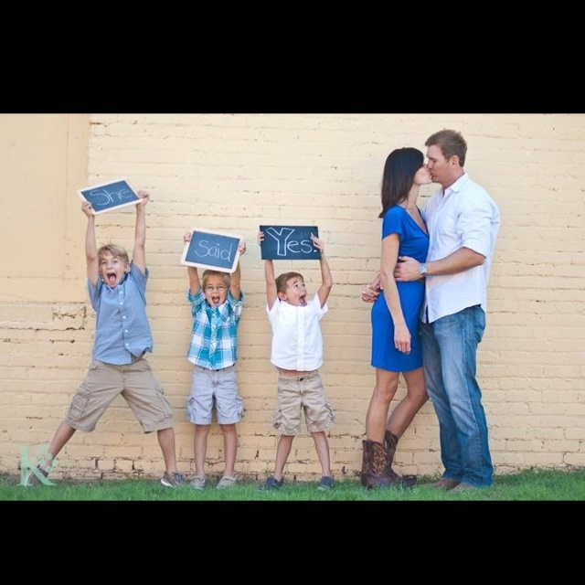 Engagement picture with kids! I'm posting my own since I looked all over for ideas for engagement pictures with kids and couldn't find anything!
