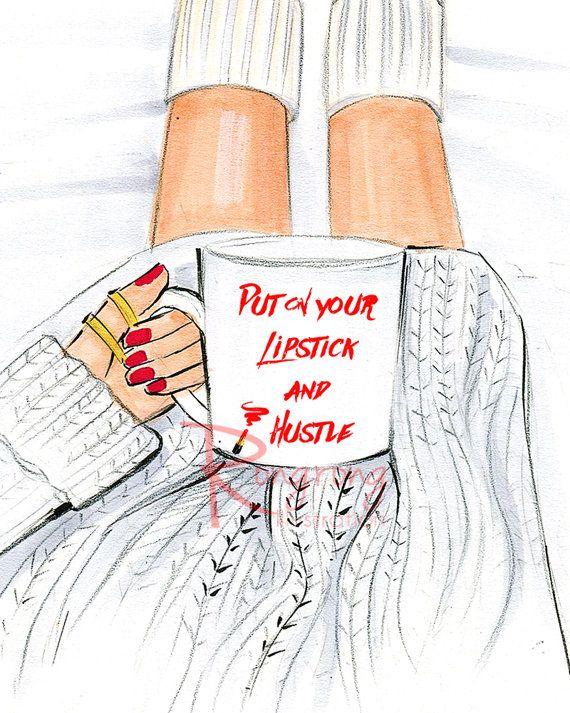 Fashionista parete arte, stampa di moda, Fashion illustration, Chic parete arte, schizzo di moda, stampa di moda, moda Poster, Titled, rossetto e hustle