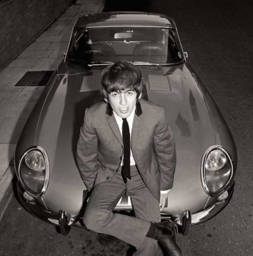 George Harrison, posing with his new Jaguar on today's date in 1964 — (Roch's Serch).