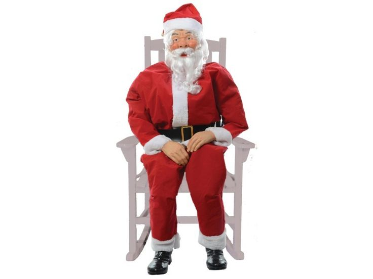 Rocking, life-size, fully clothed Santa with internal sound features 3 rotating jolly sayings. Plug into any 110 outlet. outlet. Wired function Step-Here pad is included. Some assembly required. Add your own rocking chair to complete the look!  Sits about 4 1/2 feet tall. Poly cotton clothing. Choose from 3 different function operations: 1) Continuous rocking with sounds. 2) Continuous rocking with sensor pad activated sounds. 3) Sensor pad activated rocking and sounds Chair is not included.