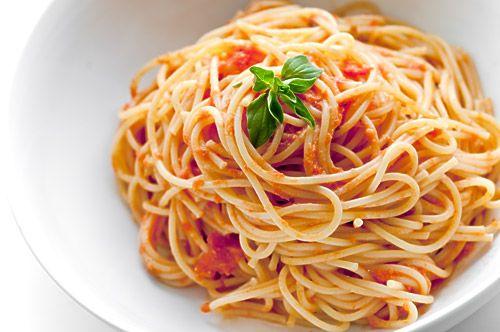 Spaghetti with Creamy Marinara. I love adding goat cheese to pasta sauce.