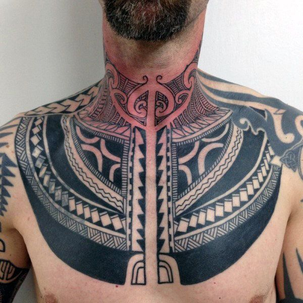 Awesome Geometric Throat Tattoo Male