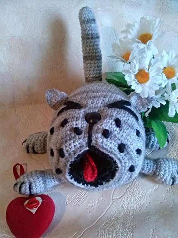 Handmade cat  Knitted toys  Unique toys  Gift for men