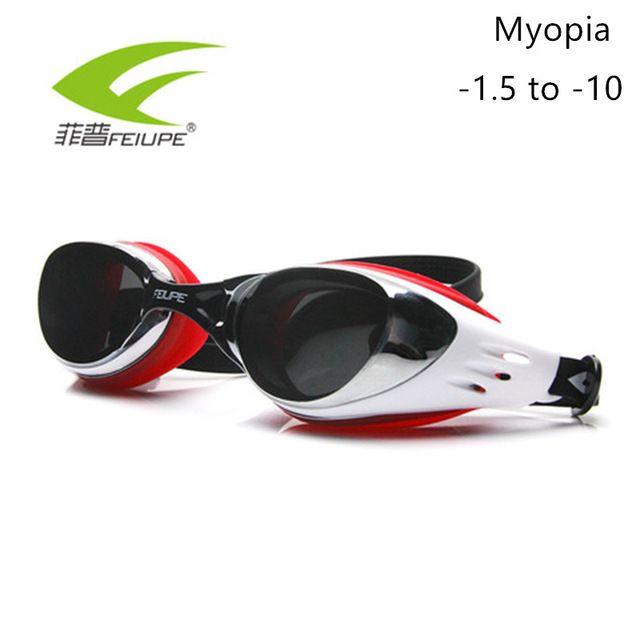 Flash Sale $10.68, Buy FEIUPE Myopia Swim Goggles Swimming Glasses Anti Fog UV Protection Optical Waterproof Eyewear for Men Women Adults Sport