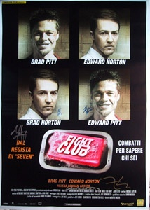 FIGHT CLUB original 27x40 movie poster cast signed by Brad Pitt, Edward Norton, Meatloaf, Helena Bonham Carter & director David Fincher.