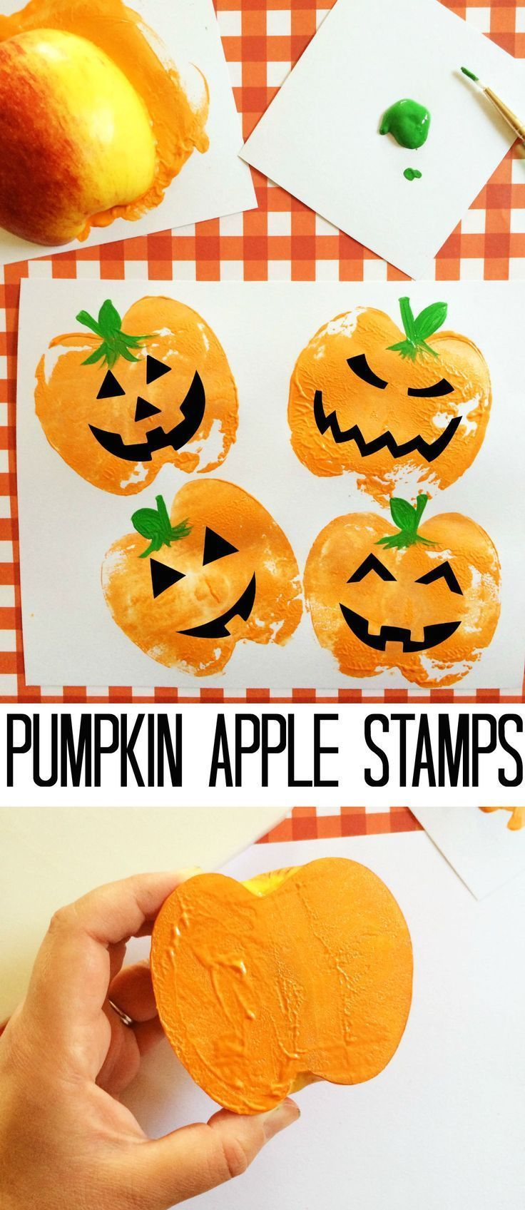 Adorable pumpkin craft for kids! Stamp mini pumpkins with apples. Genius!