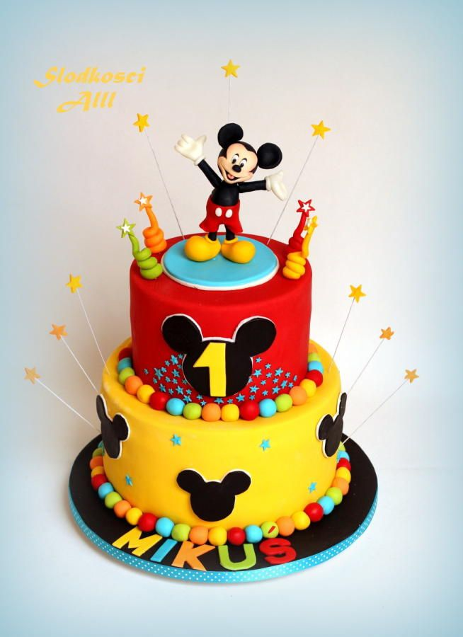Mickey Mouse Cake Red Blue And Yellow