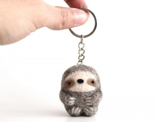 Sloth Keychain Light Grey Sloth Keyring by WildWhimsyWoolies