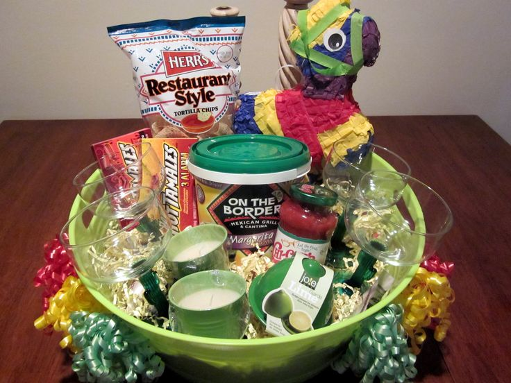 """Cinco De Mayo"" Gift Basket -Margarita Mix, Margarita Glasses, Lime Keeper, Chips  Salsa, Hot Tamales Candies, Citronella Candles, and a real Pinata!"
