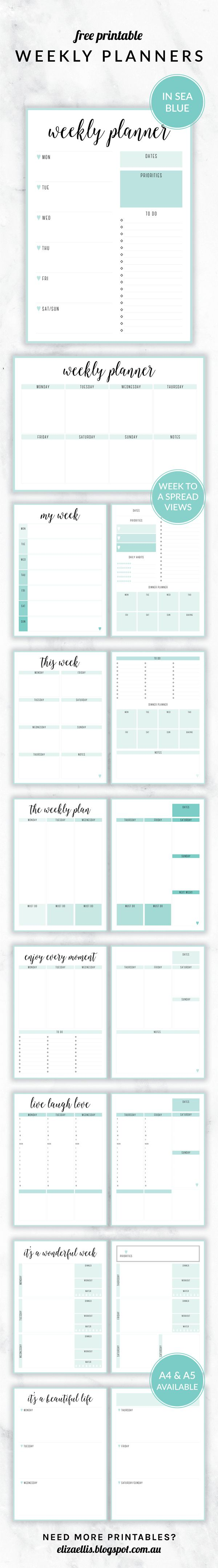 Free Printable Irma Weekly Planners in the color Sea by Eliza Ellis. With nine different styles, theyre the perfect organizing solution for mums, entrepreneurs, bloggers, etsy sellers, professionals, WAHMs, SAHMs, students and moms. Available in 6 colors and both A4 and A5 sizes. Includes week to a page planners as well as week to a spread and two page planners. Enjoy!