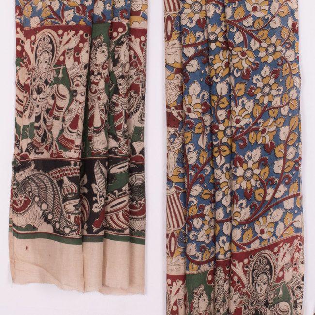Buy online Hand Block Printed Blue Maheshwari Soft Silk Kalamkari Dupatta With Floral Motifs 10012121