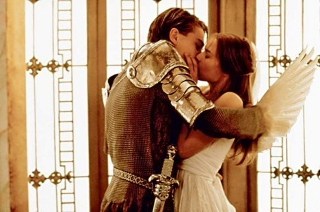 "the perfect kiss in ""Romeo and Juliet"" between Leonardo Decaprio  and Claire Danes"