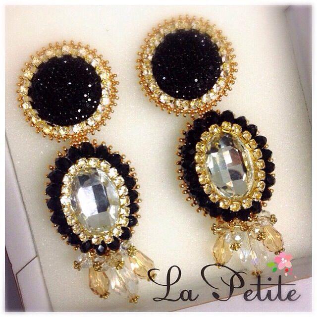 Earrings. Handmade. Black&Gold. Must. Embroidery