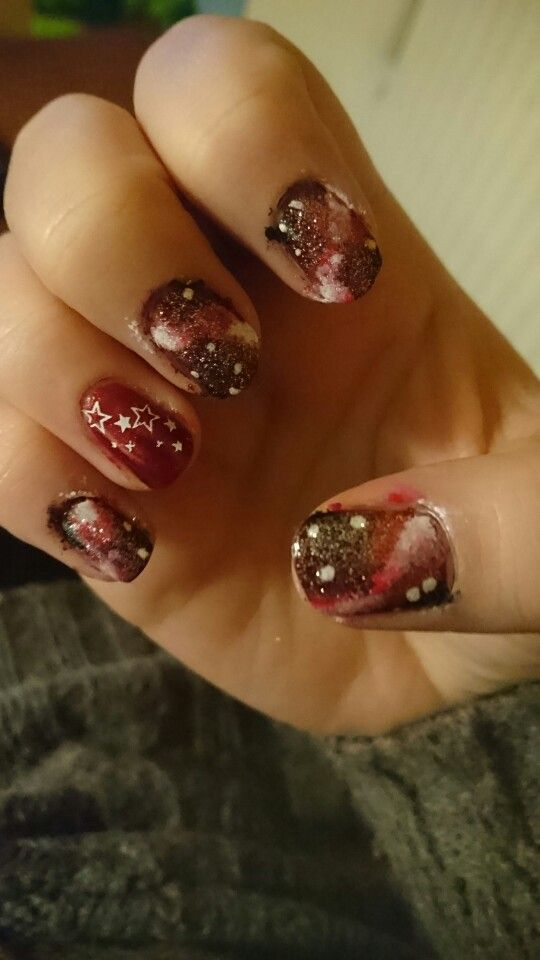 Red Galaxynails for new year *BEFORE CLEANUP*