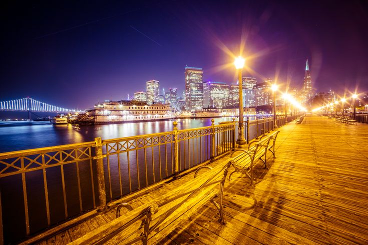 Old Pier and San Francisco Skyline ➤ DOWNLOAD by click on the picture ➤  #Architecture #BayBridge #Bench #Bridge #Buildings #City #CityLights #Dark #Lights #Night #Ocean #Old #Pier #SanFrancisco #Sea #Sky #Skyline #Skyscrapers #freestockphotos #picjumbo
