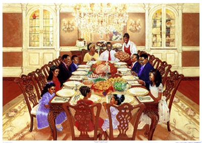 Soul Food Feast By Katherine Roundtree Shows An Extended Black Family Gathered For Thanksgiving Dinner Saying Grace Before The Meal