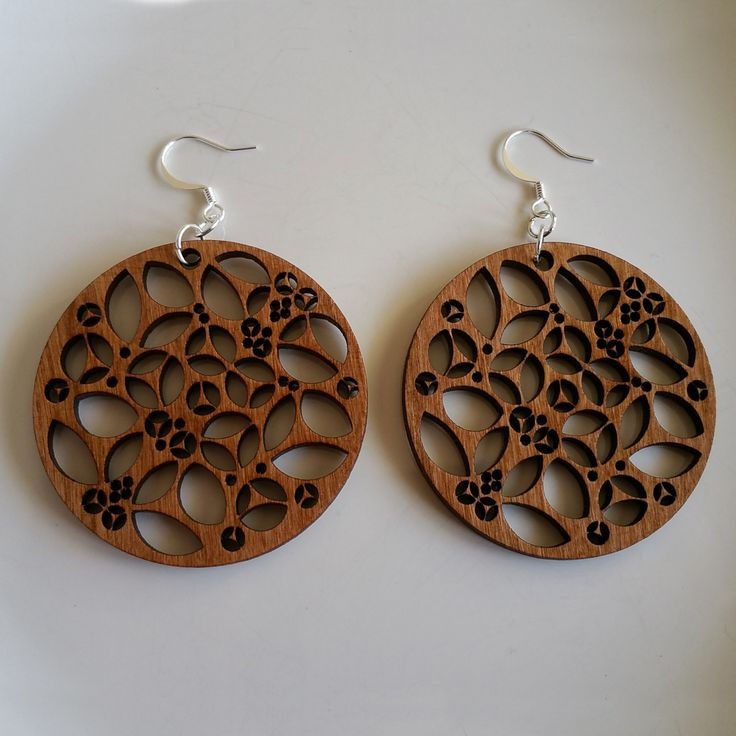 Laser Engraved Cherry Wood Earrings with Interior Cutouts by WoodWireWhimsyArt on Etsy