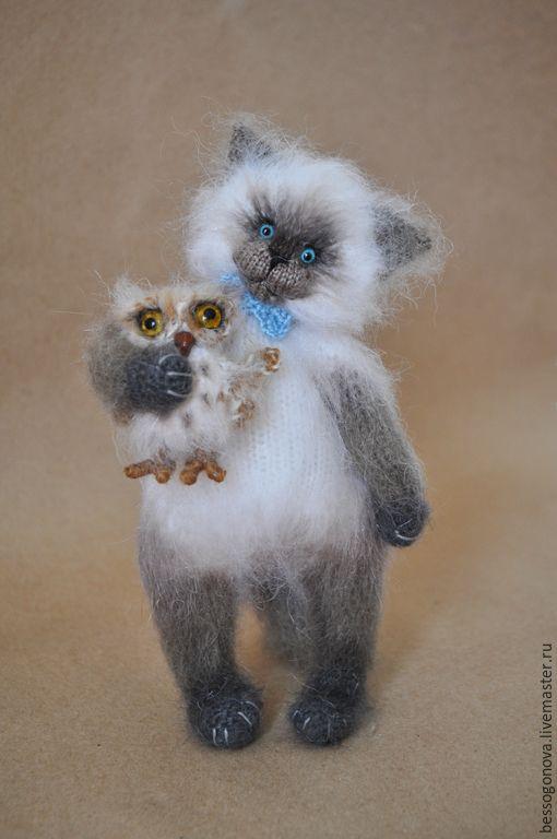 Купить Вязаный СИАМСКИЙ котик - белый, кот, котик, котенок, котик тедди, вязаная игрушка